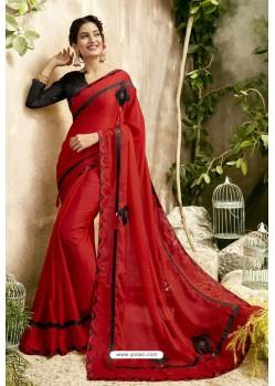 Red Georgette Embroidered Designer Fancy Saree