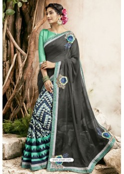 Carbon And Green Georgette Embroidered Designer Fancy Saree
