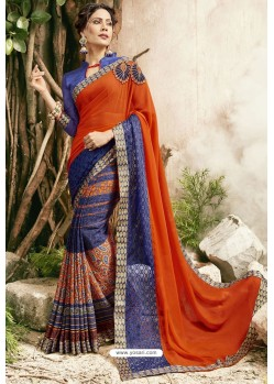 Tomato Red And Blue Georgette Embroidered Designer Fancy Saree