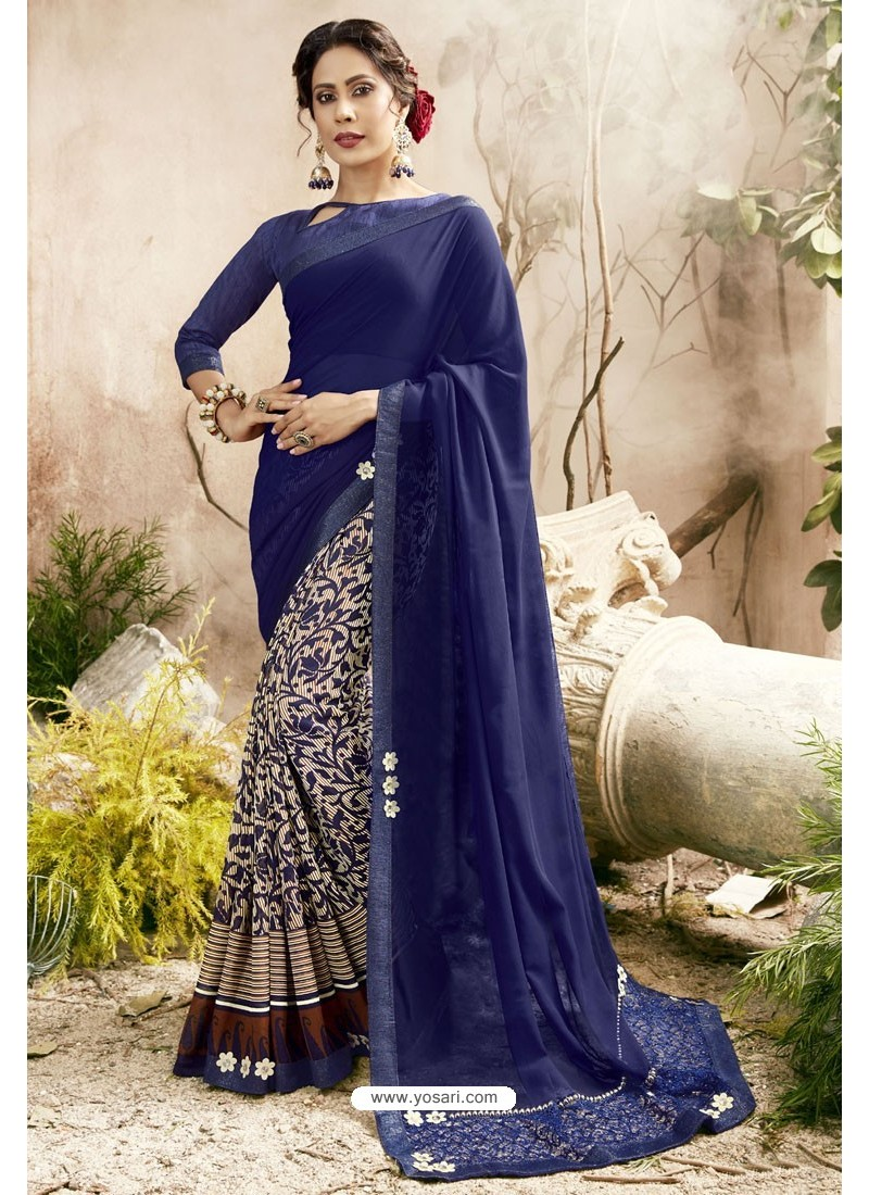 7e28d9761d Buy Navy Blue Georgette Embroidered Designer Fancy Saree   Casual Sarees