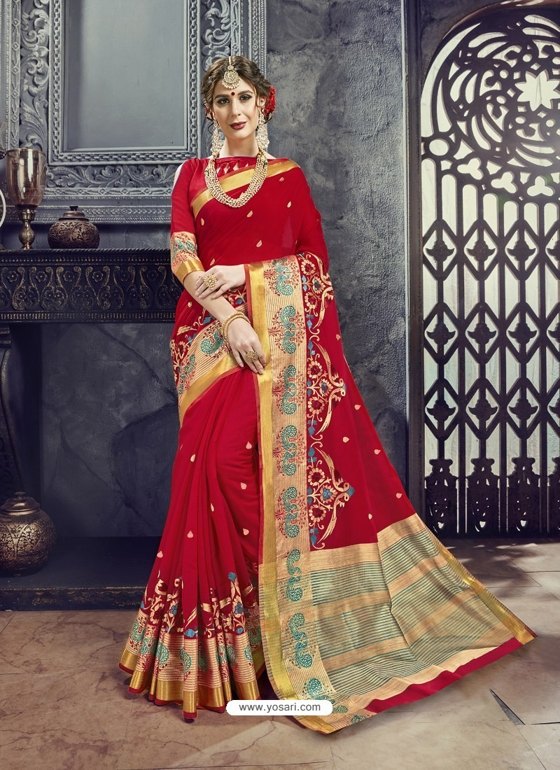 0541f02eacd07 Buy Red Embroidered Designer Cotton Silk Saree