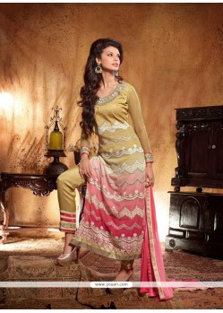 Cream And Pink Shaded Georgette Pant Style Suit