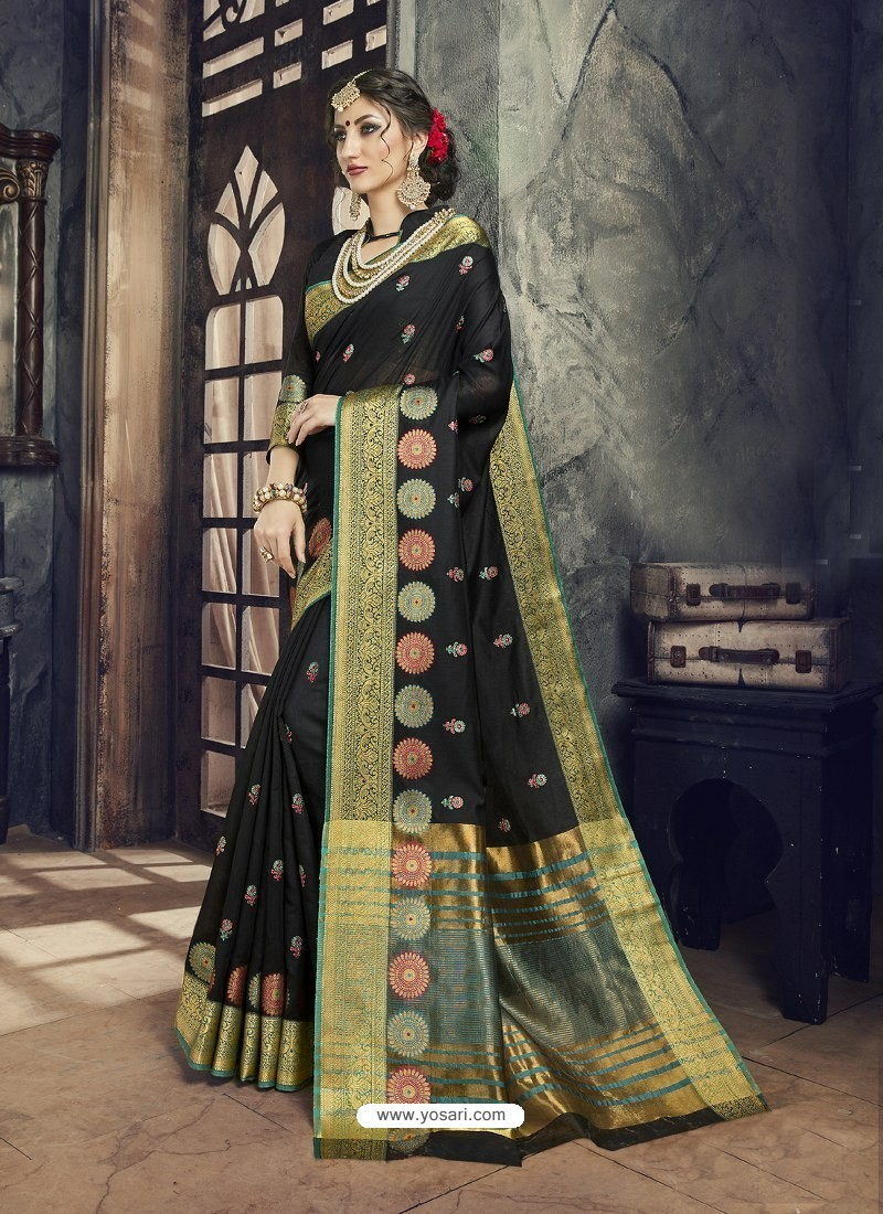 ec1156d102 Buy Black Embroidered Designer Cotton Silk Saree