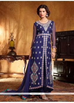 Fabulose Blue Georgette Anarkali Suit