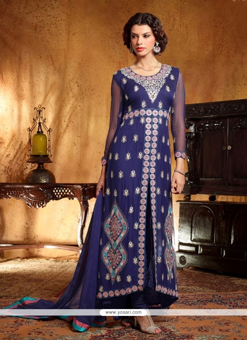 Fabulose Blue Georgette Anarkali Suit