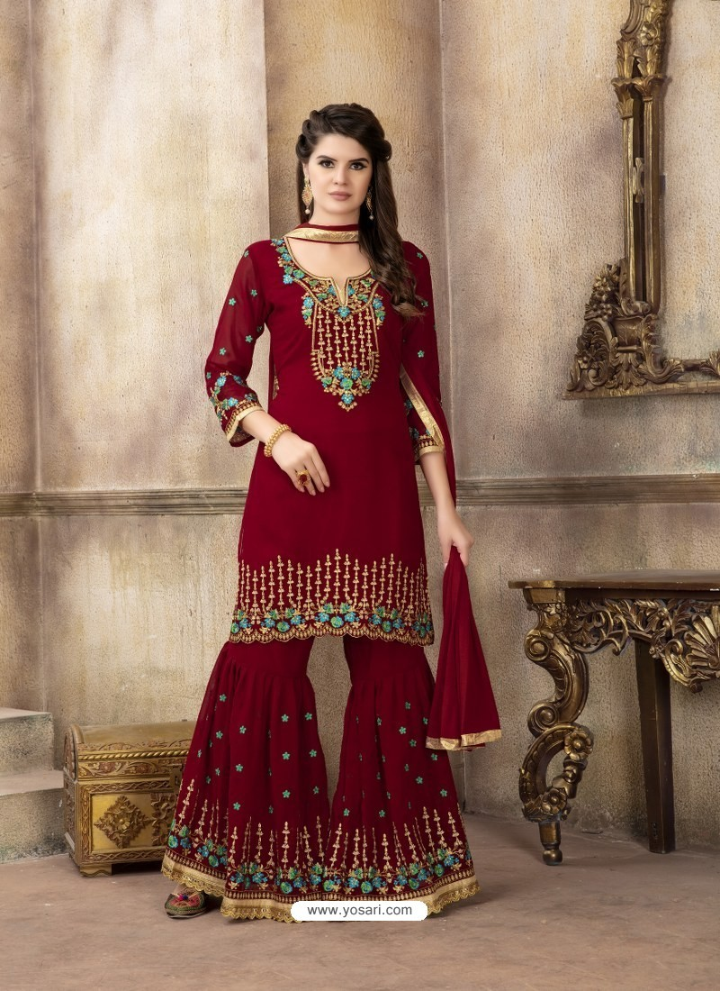 0cbca55aba Buy Maroon Faux Georgette Embroidered Designer Sarara Suit | Palazzo ...