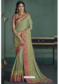 Olive Green Embroidered Art Silk Designer Saree