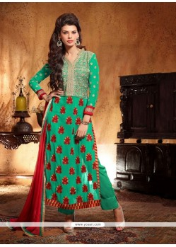 Gambling Green Georgette Salwar Suit