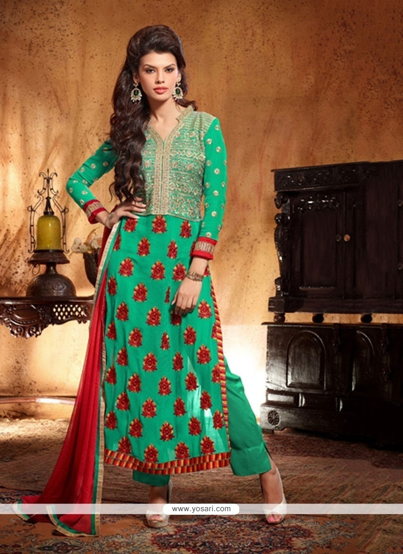 Gambling Green Georgette Salwar Suit