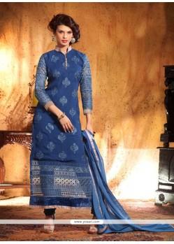 Splendid Blue Georgette Churidar Suit