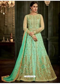 Sea Green Designer Silk Embroidered Anarkali Suit