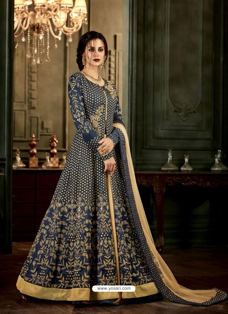 9f699a1ed9 Buy Navy Blue Designer Silk Embroidered Anarkali Suit | Anarkali Suits
