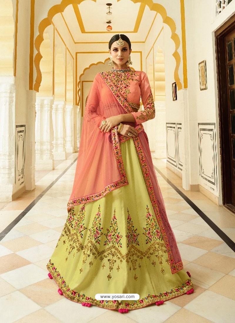 9d2753b7f7 Buy Light Red And Yellow Silk Embroidered Designer Lehenga Choli ...