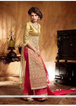 Lovely Cream Silk And Net Palazzo Suit