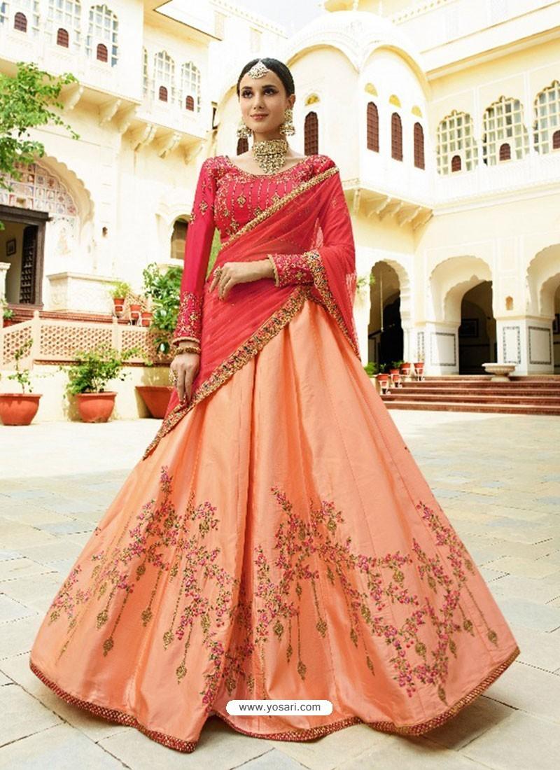 716c2d639b Buy Light Orange And Fuchsia Silk Embroidered Designer Lehenga Choli ...