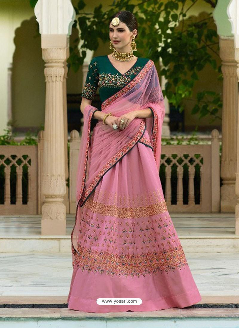 40995db337 Buy Light Pink Silk Embroidered Designer Lehenga Choli | Designer ...