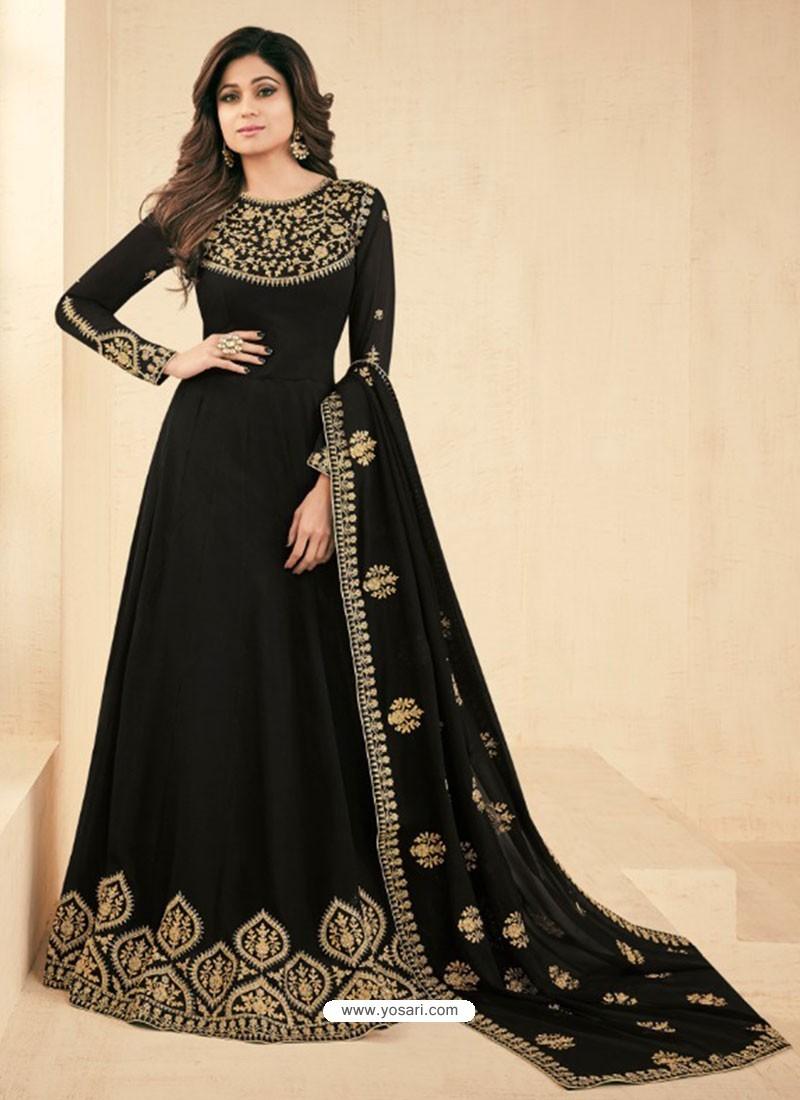 281b01aa57 Buy Black Georgette Embroidered Designer Anarkali Suit | Anarkali Suits