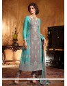 Turquoise Blue And Grey Georgette Churidar Suit