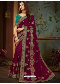 Purple Vichitra Silk Heavy Embroidery Designer Saree