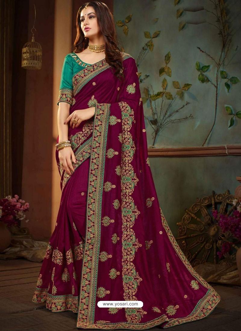 4c63be16dd Buy Purple Vichitra Silk Heavy Embroidery Designer Saree | Designer ...