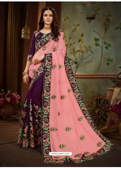 Pink And Violet Vichitra Silk Heavy Embroidery Designer Saree