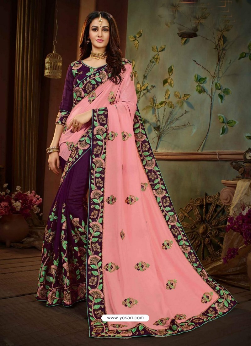 93e2d2a767 Buy Pink And Violet Vichitra Silk Heavy Embroidery Designer Saree ...