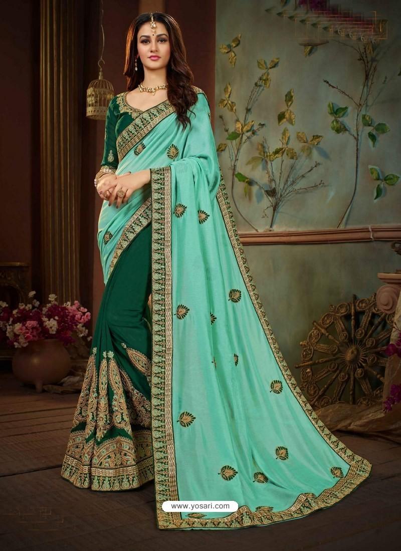 1885f83631 Buy Aqua Mint And Green Vichitra Silk Heavy Embroidery Designer ...