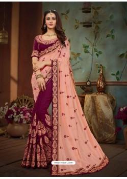 Light Orange And Wine Vichitra Silk Heavy Embroidery Designer Saree