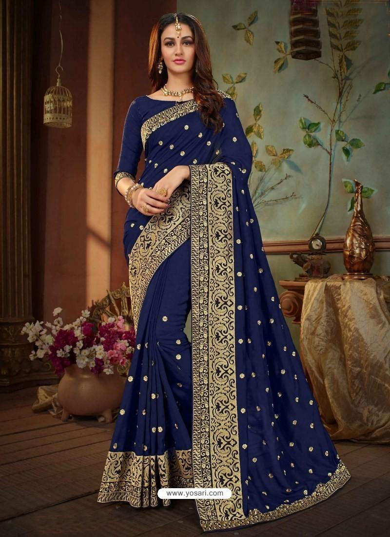 bba6a3b6c0 Buy Navy Blue Vichitra Silk Heavy Embroidery Designer Saree ...