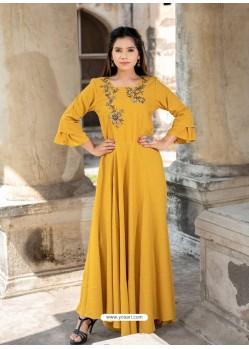 Mustard Cotton Readymade Designer Kurti