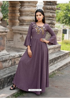 Deep Wine Cotton Readymade Designer Kurti