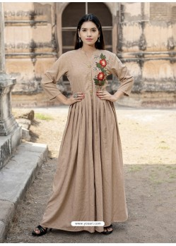 Beige Cotton Readymade Designer Kurti