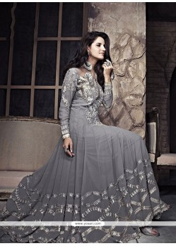 Grey Zari Work Georgette Anarkali Suit