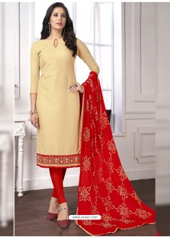 Cream Cotton Embroidered Churidar Suit