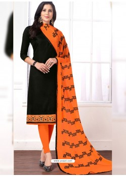 Black Cotton Embroidered Churidar Suit