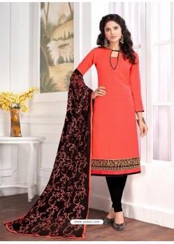 Tomato Red Cotton Embroidered Churidar Suit