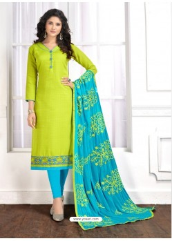 Parrot Green Cotton Embroidered Churidar Suit