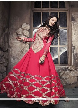 Enthralling Red Zari Work Georgette Anarkali Suit
