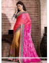 Rose Pink And Cream Shaded Faux Georgette Designer Saree