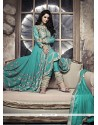 Sea Green Zari Work Georgette Anarkali Suit