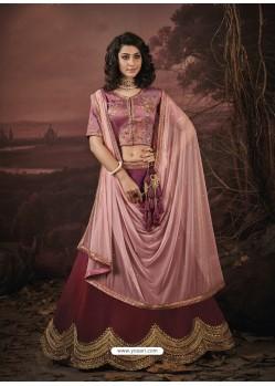 Maroon Fancy Heavy Embroidered Jacquard Designer Lehenga Choli