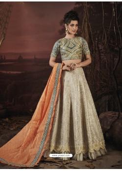Off White Fancy Heavy Embroidered Jacquard Designer Lehenga Choli