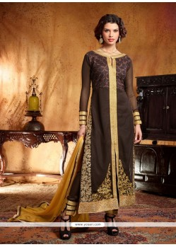 Amazing Brown Georgette Pant Style Suit