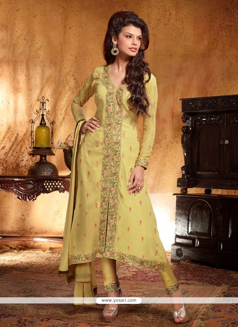 Light Green Georgette Pant Style Suit