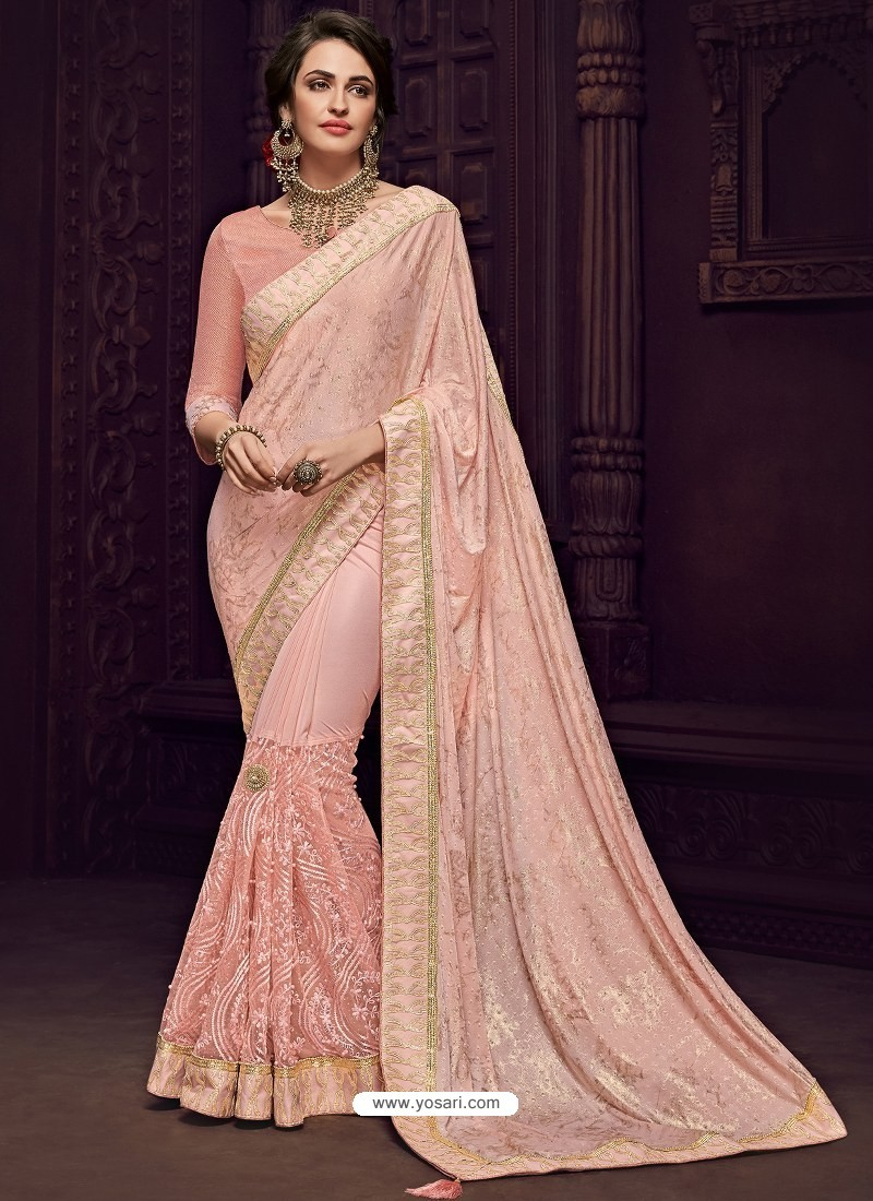 Buy Baby Pink Imported Fabrics Heavy Embroidered Designer Party Wear Saree Party Wear Sarees