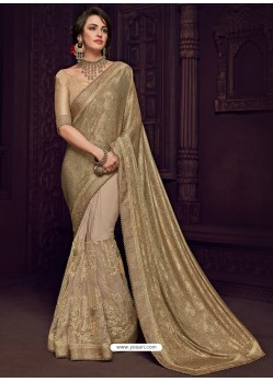 Golden Imported Fabrics Heavy Embroidered Designer Party Wear Saree