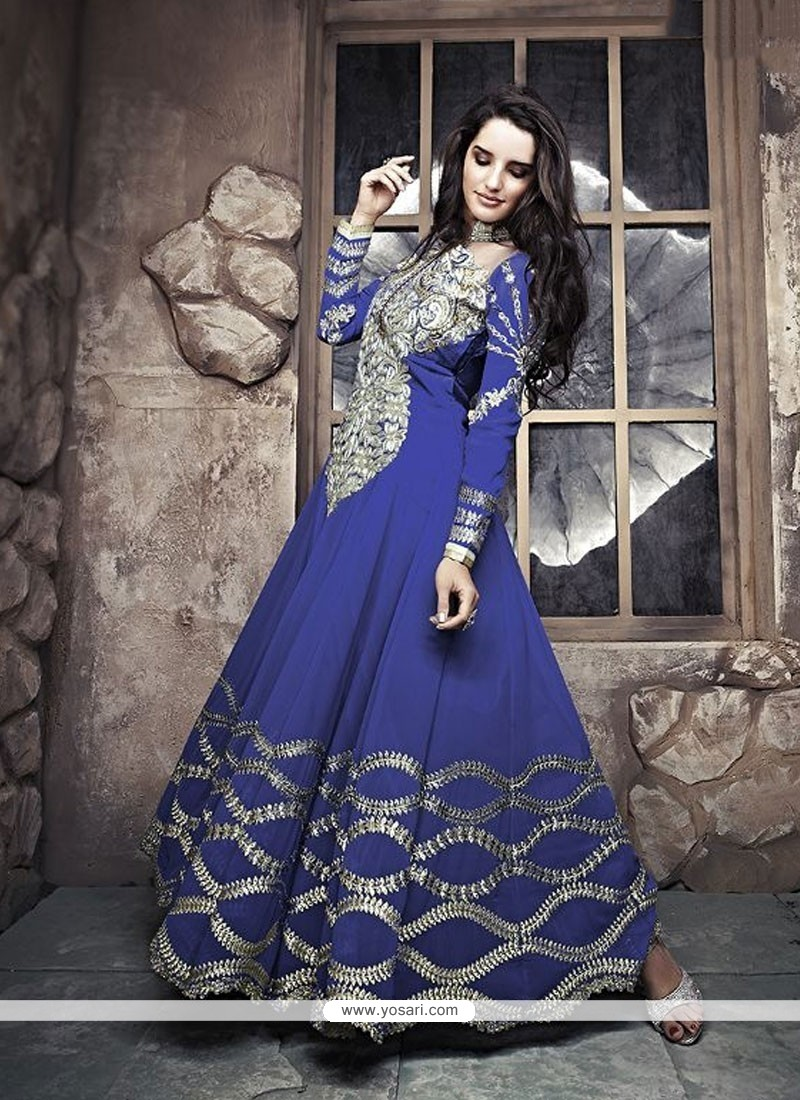 Stunning Blue Zari Work Georgette Anarkali Suit