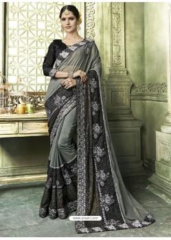Dull Grey Silk Border Work Designer Party Wear Saree