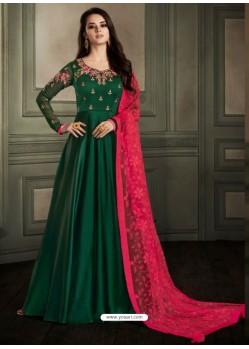 Dark Green Embroidered Georgette Satin Designer Floor Length Suit
