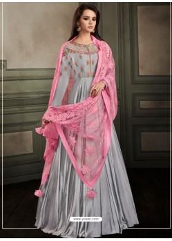Silver Embroidered Georgette Satin Designer Floor Length Suit